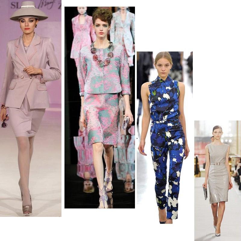 Модницам с правильными пропорциями тела, дизайнеры предлагают носить на работу трикотажные платья.