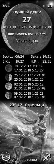 14 января 2018 27 лунный день