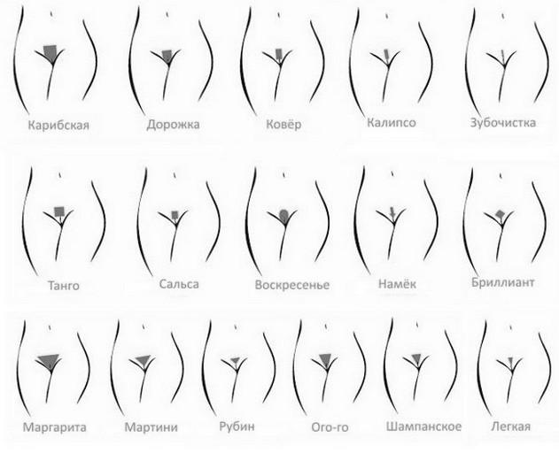 Варианты интимных стрижек