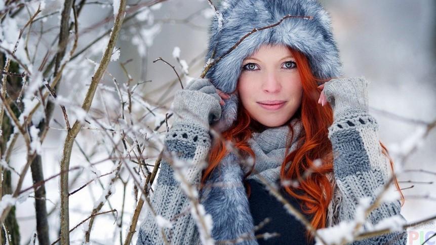 Зима, девушка