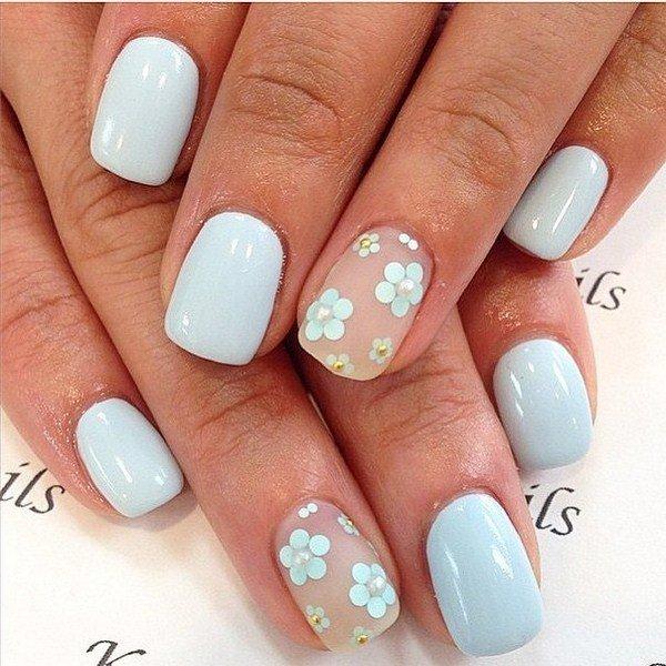 Цветки ромашки на коротких ногтях
