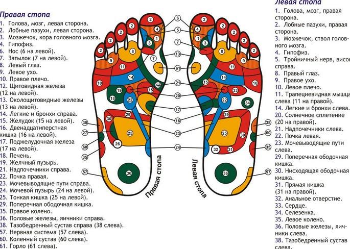 Точки массажа ног