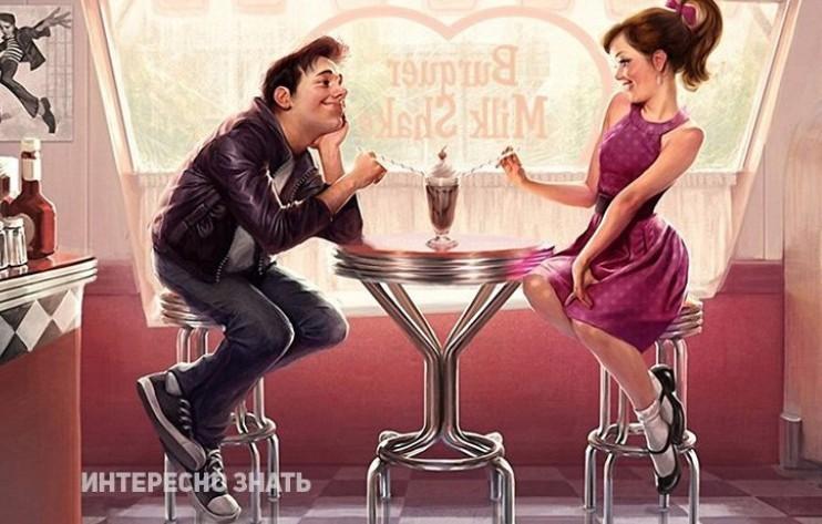 Мужчина и женщина пьют коктель
