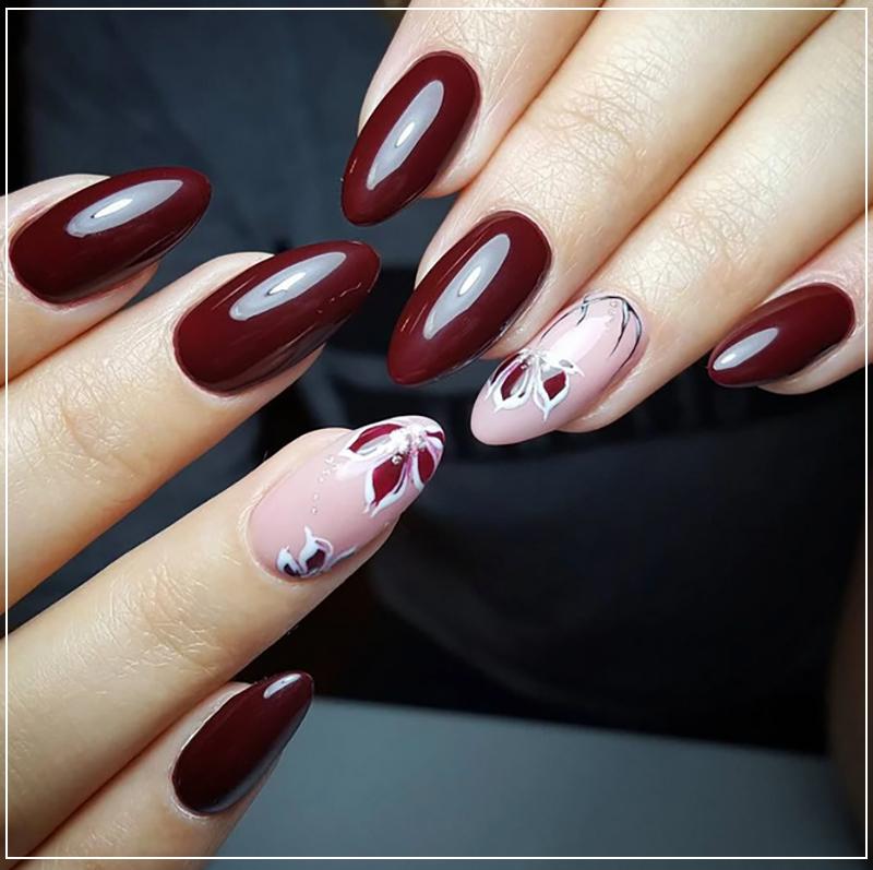Бордовый дизайн ногтей цвета марсала