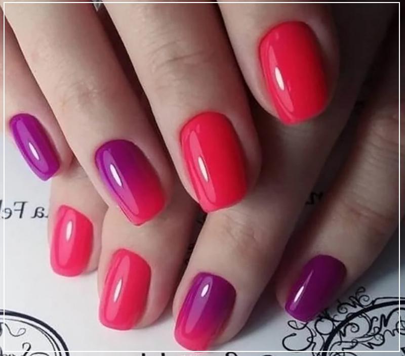 Градиент на ногтях с розовым оттенком