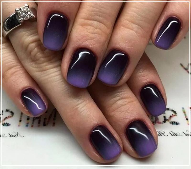 Градиент на ногтях с фиолетовым оттенком