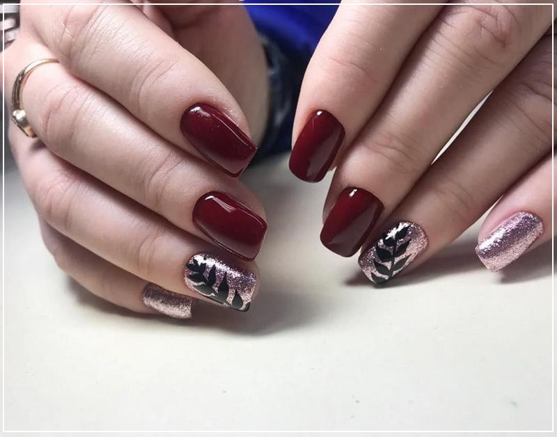 Модный бордовый дизайн с веточкой