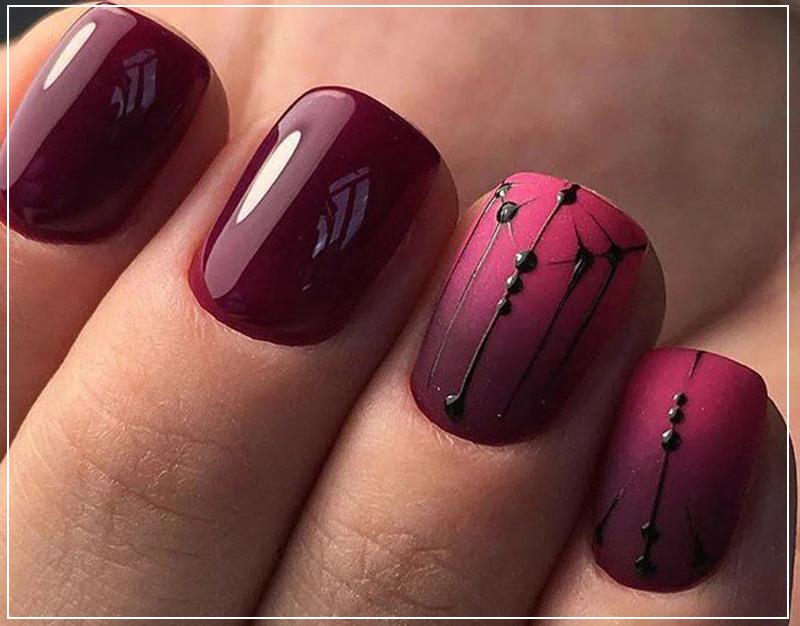 Необычный бордовый дизайн ногтей