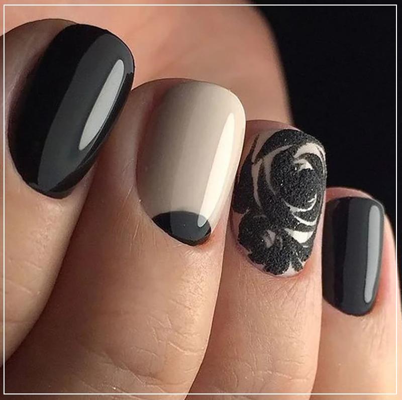 Черный маникюр с объемным узором в виде розы
