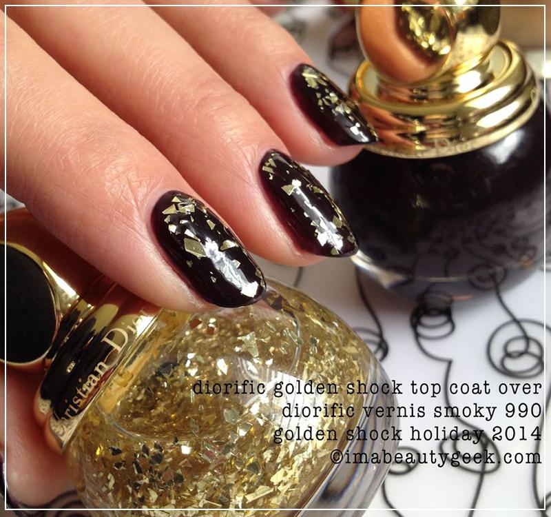 Обзор лака Dior Diorific Vernis Gold Leaf Effect Topcoat 001 Golden Shock