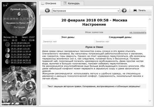 Лунный календарь 20 февраля 2018