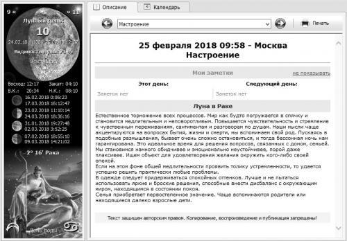 Лунный календарь 25 февраля 2018