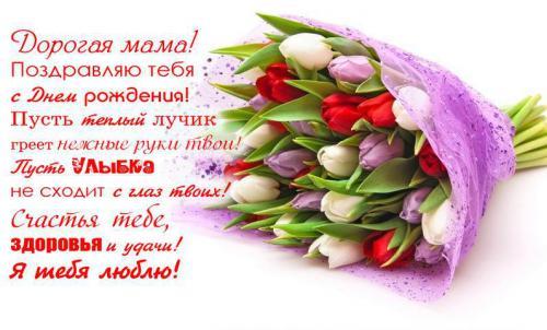 Дорогой маме тюльпаны