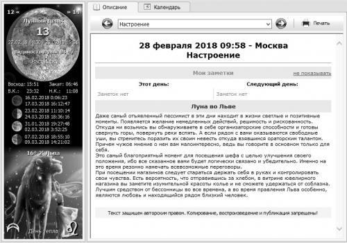 Лунный календарь 28 февраля 2018