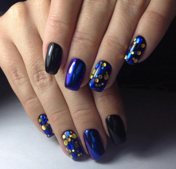 Черно-синий маникюр с камифубиками