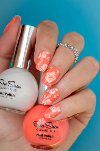 Дизайн оранжевых ногтей