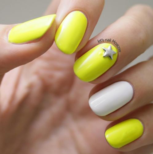 Сочетание белого и желтого лака