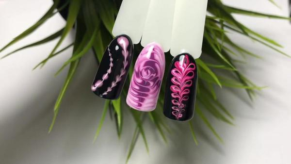 Фото пошагового нанесения дизайна ногтей по мокрому гель лаку.