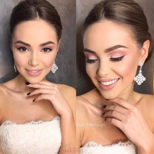 Свадебный макияж для брюнетки без декольте